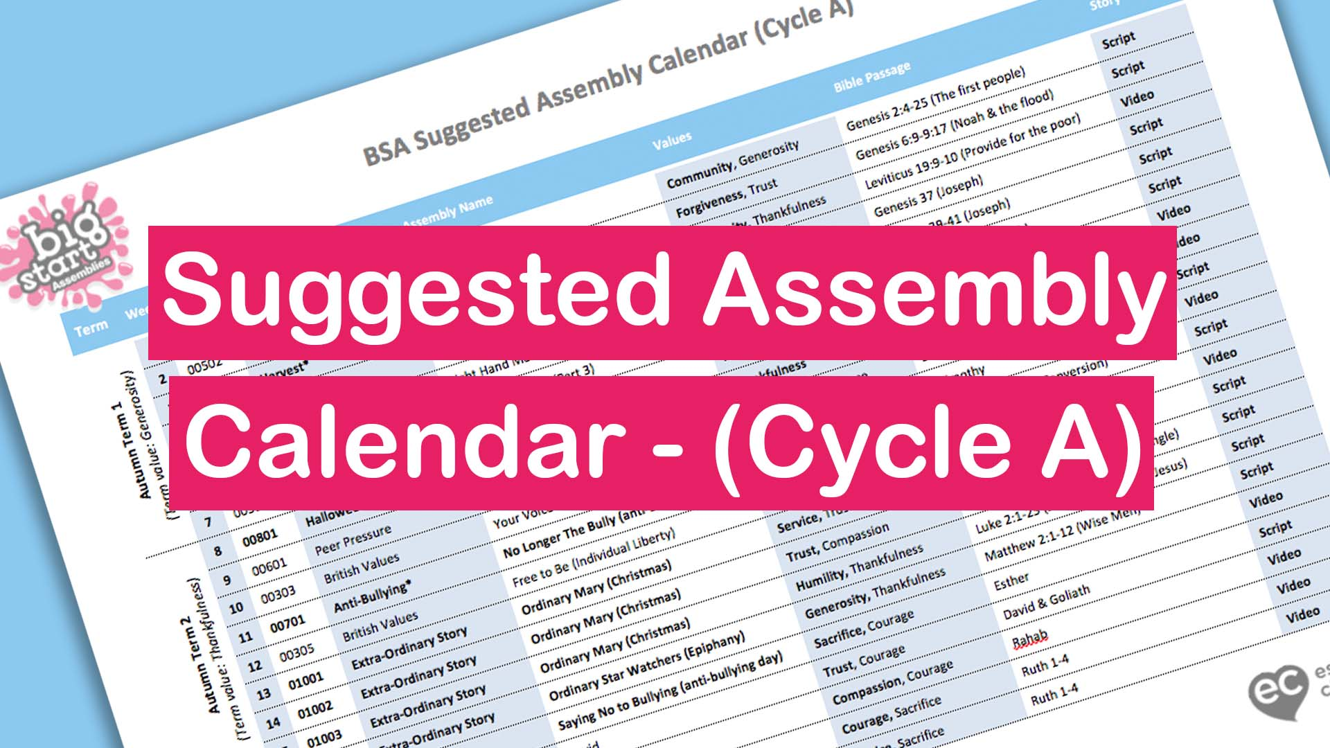 Suggested Assembly Calendar